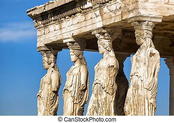 famosos, Caryatides, em, Acrópole, Atenas,...