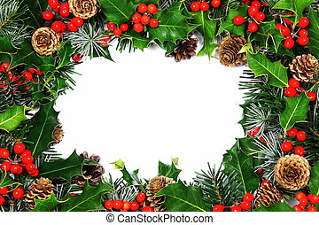 Christmas holly border - traditional Christmas border of...