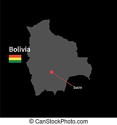 Detailed map of Bolivia and capital city Sucre with flag on...