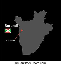 Detailed map of Burundi and capital city Bujumbura with flag...
