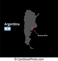 Detailed map of Argentina and capital city Buenos Aires with...