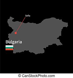 Detailed map of Bulgaria and capital city Sofia with flag on...