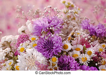 Flowers - Close up of a Beautiful bouquet of wild flowers, a...