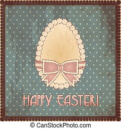 Happy Easter vintage egg, vector illustration
