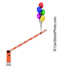 Barrier with balloons on a white