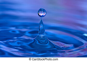 Water Ball Drop - Water drop with bubble on top with...