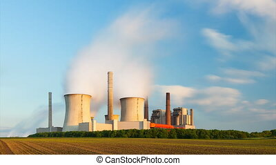 Power Station In The Evening - Time lapse sequence of a...
