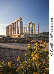 Greek temple Poseidon, Cape Sounion in Greece - Famous Greek...