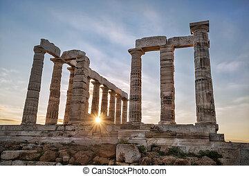 Poseidon,  Sounion, Grego, Grécia, capa, Templo