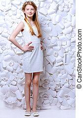 illusion of white - Beautiful blonde teen girl wearing white...
