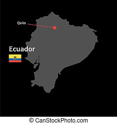Detailed map of Ecuador and capital city Quito with flag on...