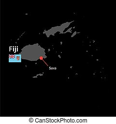 Detailed map of Fiji and capital city Suva with flag on...