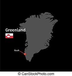 Detailed map of Greenland and capital city Nuuk with flag on...