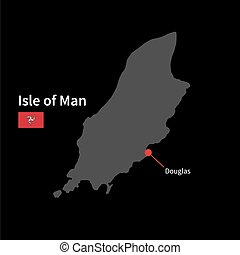 Detailed map of Isle of Man and capital city Douglas with...