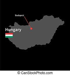 Detailed map of Hungary and capital city Budapest with flag on black background