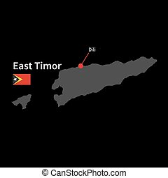 Detailed map of East Timor and capital city Dili with flag...