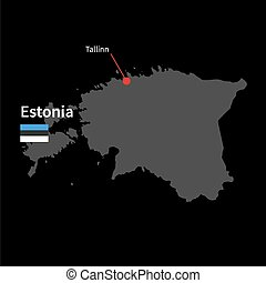 Detailed map of Estonia and capital city Tallinn with flag on black background