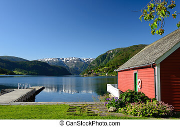 Fjord view with boathouse - Fjord view over Hardangerfjord...