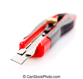Box cutter  -  red stationery knife on white background
