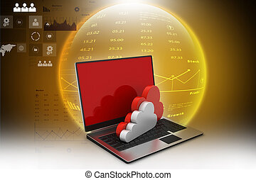 laptop showing concept of cloud computing.