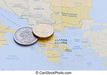 Greek Drachma and Euro cent on a Greek Map