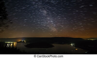 Star Trails Above Lake Timelapse