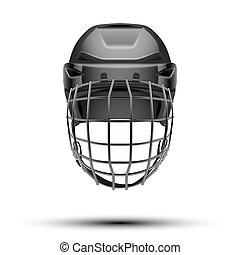Classic black Goalkeeper Hockey Helmet isolated on...