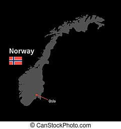 Detailed map of Norway and capital city Oslo with flag on...