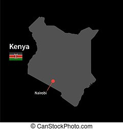Detailed map of Kenya and capital city Nairobi with flag on black background