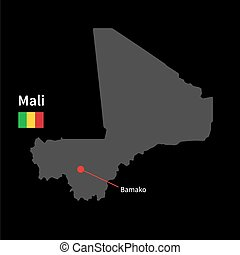 Detailed map of Mali and capital city Bamako with flag on...