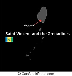 Detailed map of Saint Vincent and the Grenadines and capital...