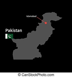 Detailed map of Pakistan and capital city Islamabad with...