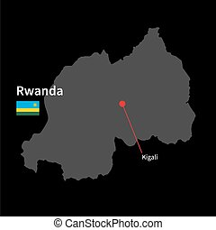 Detailed map of Rwanda and capital city Kigali with flag on...