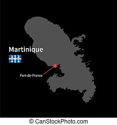 Detailed map of Martinique and capital city Fort-de-France...
