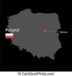 Detailed map of Poland and capital city Warsaw with flag on...
