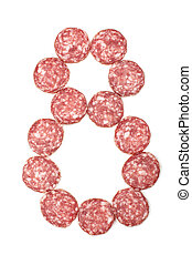 Number 8 arranged from salami sausa - Creative food