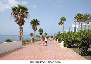 Promenade in Costa Adeje. Canary Island Tenerife, Spain