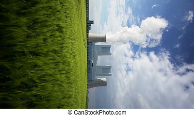 Power Station And Rye Field - Vertical shot of a shiny new...