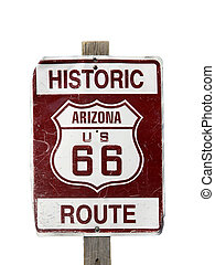 Historic Route 66 sign on white background
