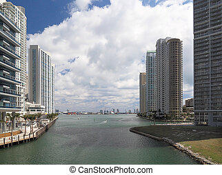 Miami River 1 - View of the Miami River and downtown with...