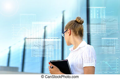 Young attractive businesswoman over abstract virtual...