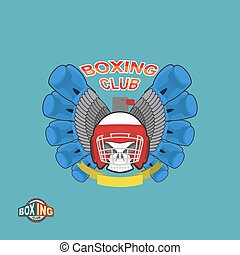 Sports shield emblem Boxing logo skull Logotype boxing Club...