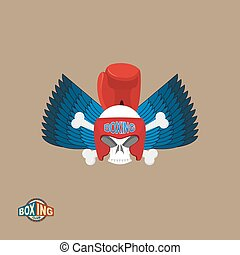 Boxing logo Skull in a boxing helmet with gloves, with wings...