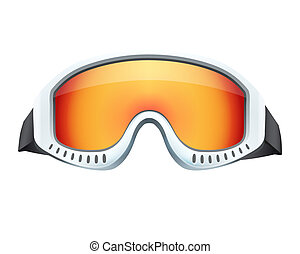 Classic snowboard ski goggles with colorful glass. Isolated...