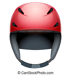 Front view of red rescuer Ski and snowboard helmet
