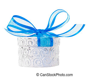 Giftbox - White decorative giftbox with big blue ribbon