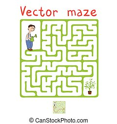 Vector Maze, Labyrinth with Gardener and Plant - Vector...