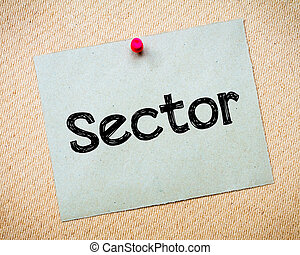 Sector Message Recycled paper note pinned on cork board...