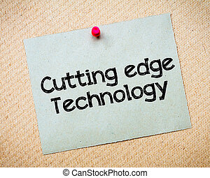 Cutting Edge Technology Message Recycled paper note pinned...
