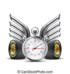 Concept banner Car racing and championship Stopwatch and...